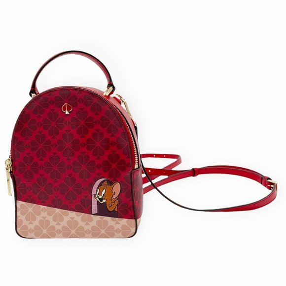 NWOT Kate Spade Disney Tom and Jerry Mini Convertible Backpack Red Leather